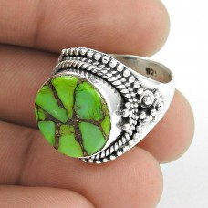 Beautiful Design! 925 Silver Green Copper Turquoise Ring Manufacturer India