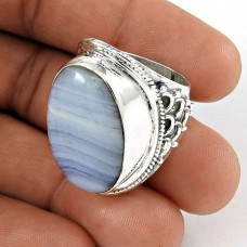 Big Love's Victory!! 925 Sterling Silver Blue Lace Agate Ring