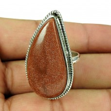 925 Sterling Silver Antique Jewellery Traditional Red Sunstone Ring De gros