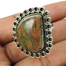 925 Sterling Silver Jewellery High Polish Unakite Gemstone Ring Manufacturer India