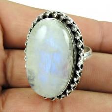 925 Silver Jewellery Party Wear Rainbow Moonstone Ring Mayorista