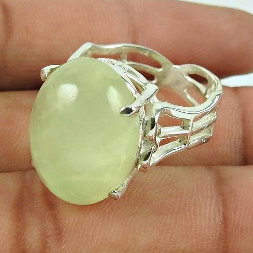 Sterling Silver Jewellery Ethnic Prehnite Gemstone Ring Wholesale