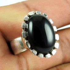 925 Sterling Silver Jewellery High Polish Black Onyx Gemstone Ring