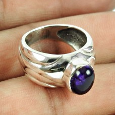 Sterling Silver Indian Jewellery High Polish Amethyst Gemstone Ring Wholesale Price