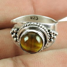 Beautiful Tiger Eye Gemstone Ring 925 Silver Jewellery
