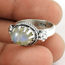 Sterling Silver Jewellery Fashion Rainbow Moonstone Ring Grossiste