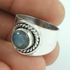 Big Natural Top 925 Silver Labradorite Gemstone Ring
