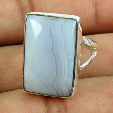 Charming Blue Lace Agate Gemstone Ring 925 Sterling Silver Vintage Jewellery