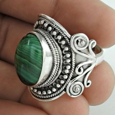 Fashion Design! Sterling Silver Malachite Ring