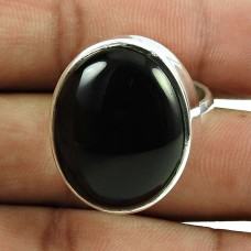 Charming Black Onyx Gemstone Ring 925 Sterling Silver Vintage Jewellery