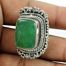 Party Wear Chrysoprase Gemstone Ring Sterling Silver Fashion Jewellery
