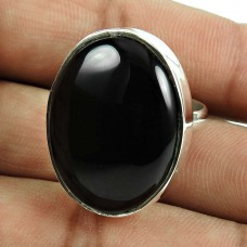 Daily Wear Black Onyx Gemstone Ring Indian Sterling Silver Jewellery