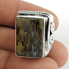 Sterling Silver Fashion Jewellery High Polish Bronzite Gemstone Ring