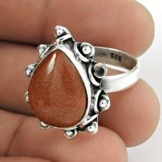 Sterling Silver Jewellery Beautiful Red Sunstone Gemstone Ring