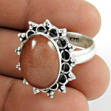 925 Sterling Silver Fashion Jewellery Ethnic Red Sunstone Gemstone Ring