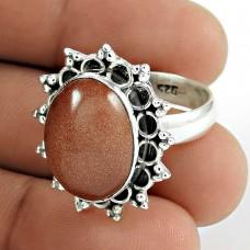 925 Sterling Silver Fashion Jewellery Ethnic Red Sunstone Gemstone Ring