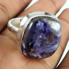 925 Sterling Silver Jewellery Charming Charoite Gemstone Ring