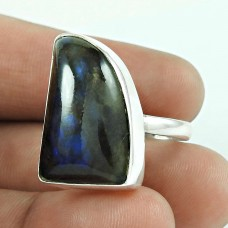 925 Silver Jewellery Traditional Labradorite Gemstone Ring Wholesaling