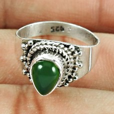 925 Sterling Silver Beautiful Jewellery Seemly Green Onyx Gemstone Ring