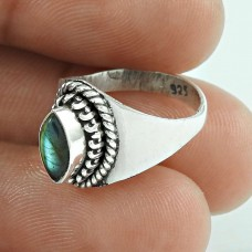 New Exclusive Style!! 925 Silver Labradorite Gemstone Ring