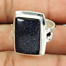 925 Sterling Silver Jewellery Beautiful Blue Sunstone Fine Ring