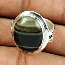 925 Sterling Silver Jewellery Daily Wear Striped Onyx Gemstone Ring