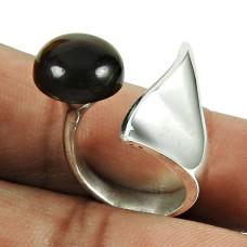 925 Sterling Silver Jewellery Stylish Smoky Quartz Gemstone Ring