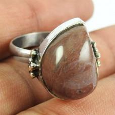 925 Sterling Silver Indian Jewellery Beautiful Rhodonite Gemstone Ring