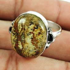 925 Sterling Silver Jewellery Rattling Picture Jasper Gemstone Fine Ring