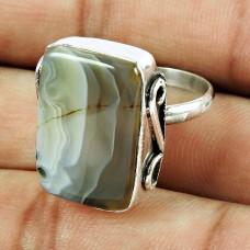 925 Sterling Silver Jewellery Stylish Botswana Agate Gemstone Ring