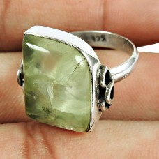 925 Sterling Silver Jewellery Well-Favoured Prehnite Gemstone Ring
