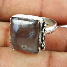 925 Sterling Silver Vintage Jewellery Excellent Polka Dot Agate Gemstone Ring