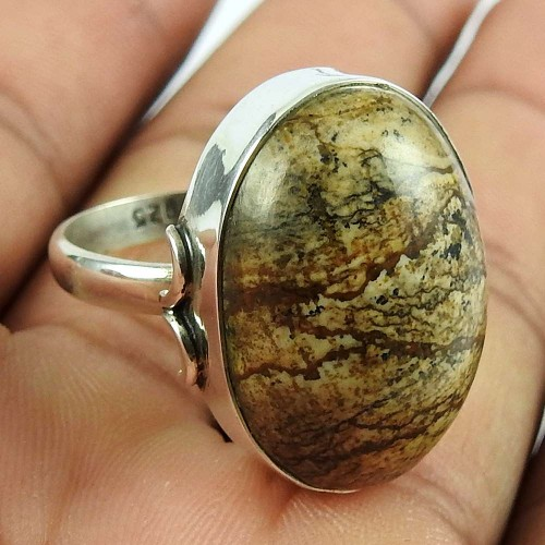 925 Sterling Silver Antique Jewellery Beautiful Picture Jasper Gemstone Ring