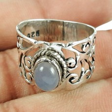 925 Sterling Silver Fashion Jewellery Lustrous Chalcedony Gemstone Ring