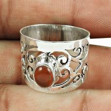 Handmade 925 Sterling Silver Jewellery Seemly Carnelian Gemstone Ring