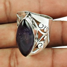 925 Sterling Silver Vintage Jewellery Classic Purple Amethyst Gemstone Ring