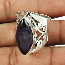 925 Sterling Silver Vintage Jewellery Classic Purple Amethyst Gemstone Ring