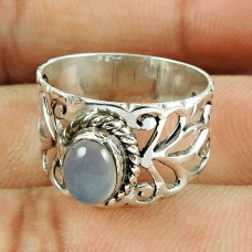 925 Sterling Silver Jewellery Engaging Chalcedony Gemstone Ring