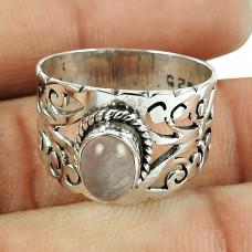 Sterling Silver Handmade Jewellery Beautiful Rose Quartz Gemstone Ring