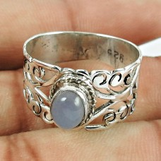 925 Sterling Silver Vintage Jewellery Charming Chalcedony Gemstone Ring