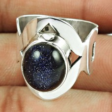 Indian Sterling Silver Jewellery Lovely Blue Sunstone Ring