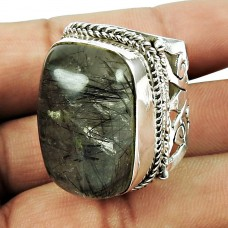 Sterling Silver Jewellery Scenic Black Rutile Gemstone Ring