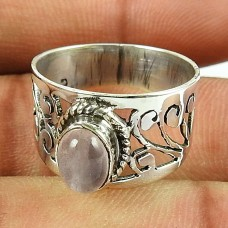 Classic Design Sterling Silver Jewellery Stunning Rose Quartz Gemstone Ring