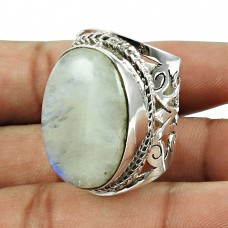 925 Sterling Silver Fashion Jewellery Lustrous Rainbow Moonstone Ring