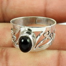 925 Sterling Silver Jewellery Classic Black Onyx Gemstone Ring