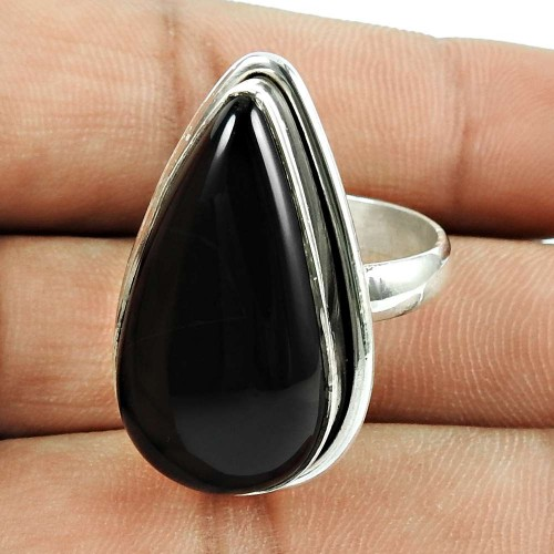 925 Sterling Silver Indian Jewellery Designer Black Onyx Gemstone Ring