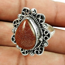 925 Sterling Silver Jewellery Personable Real Red Sunstone Gemstone Ring