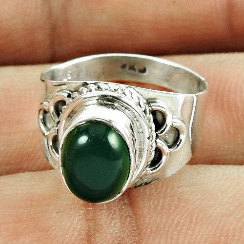 925 Sterling Silver Vintage Jewellery Excellent Green Onyx Gemstone Ring