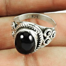 Classic 925 Sterling Silver Jewellery Beautiful Black Onyx Gemstone Ring