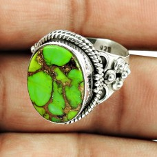 925 Sterling Silver Fashion Jewellery Rare Green Copper Turquoise Gemstone Ring
